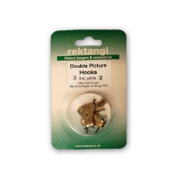 Recktangle Picture Double Hook #3 and Pins, Hanging Pack of 4